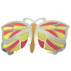 Mariposa multicolor plateada